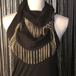Bebe Black and silver chain scarf